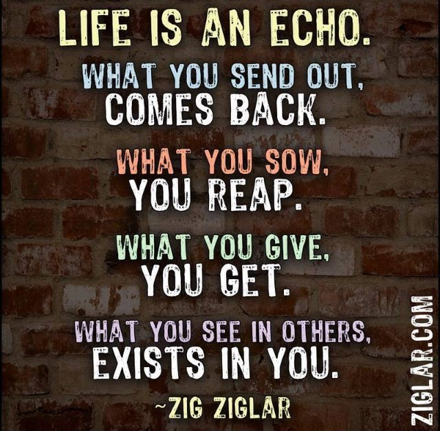 Life Is An Echo What You Send Out Comes Back What You Sow You