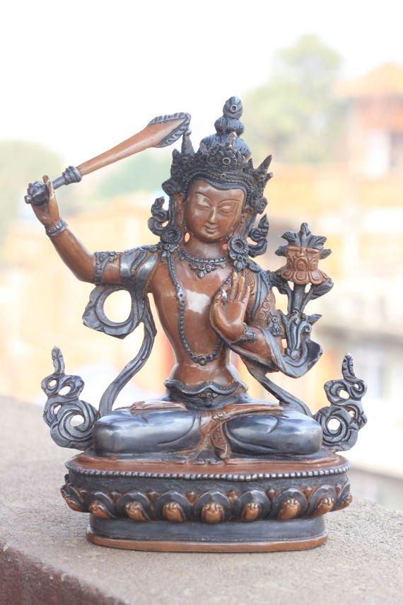 Manjushri buddha statue antique look tibetan buddhism - Bouddha statue deco ...