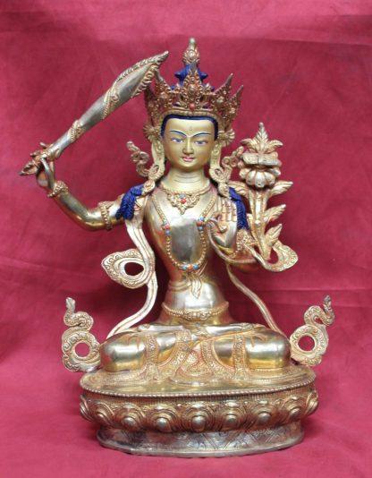 Buddha Showpiece Online Manjushri Full Gold Statue