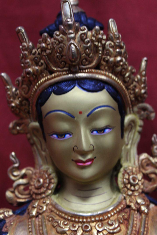 green tara goddess statue full gold perfect for home decor zen altar. Black Bedroom Furniture Sets. Home Design Ideas