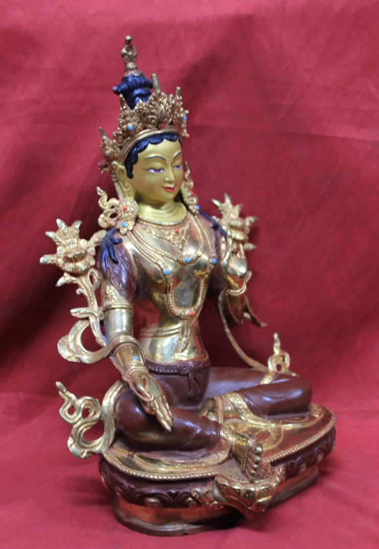 Green Tara Goddess Statue Full Gold Perfect For Home