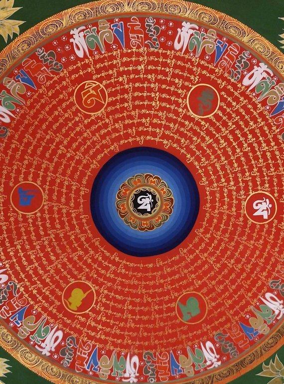 Om Mani Padme Hum mantra thangka Tibetan