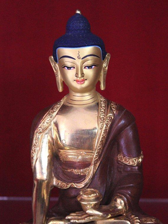 shakyamuni buddha statue gold plated body