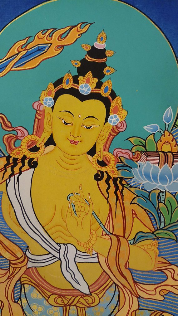 Manjushri Tibetan thangka paintings face