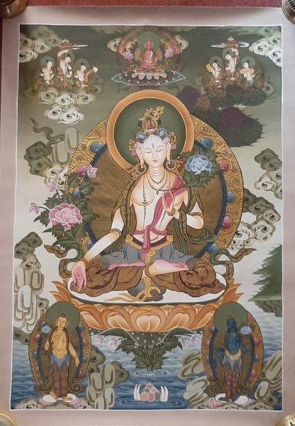 White Goddess Tara Tibetan Thangka Painting for house warming