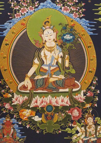 White tara thangka buddhist painting