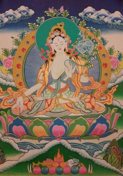 White tara tibetan thangka blue bg 1