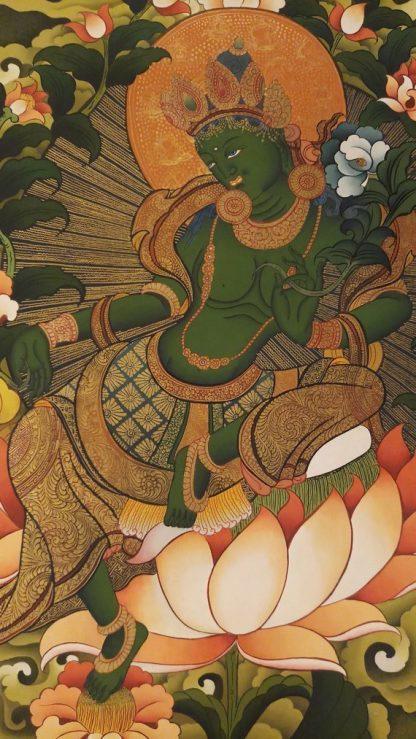 green tara newari thangka painting
