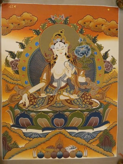 white tara thangka painting