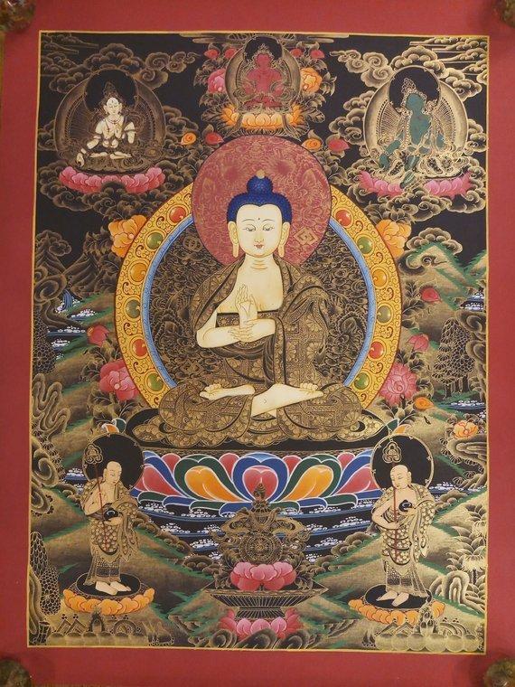 Vairocana Thangka Painting Dhyani Buddha Wall Art For Altar And Home