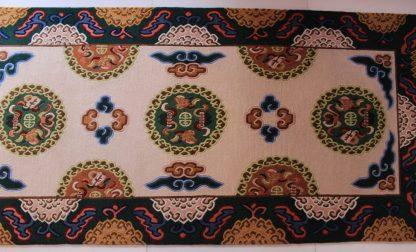 Tibetan lotus carpet green pink and brown
