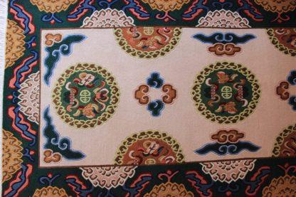 Tibetan lotus carpet green pink