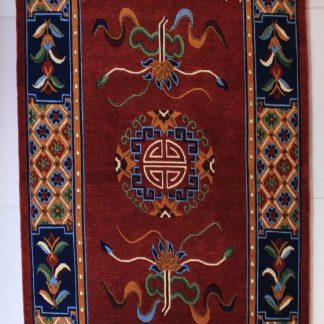 Tibetan mandala lotus rug red