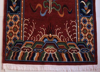 Tibetan mandala lotus rug red zoom
