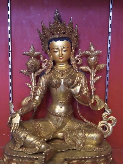 Green Tara Golden Statue full gold plated