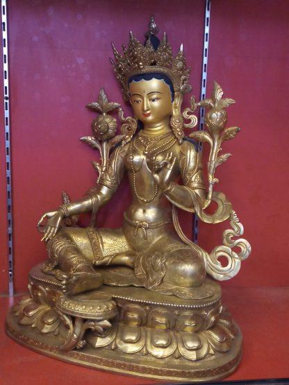 Green Tara Golden Statue side view 2