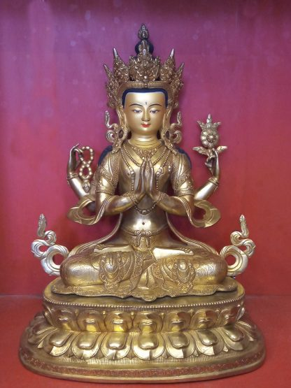 changresi buddha statue chenrezig 18 inches full gold statue