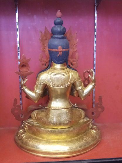 changresi buddha statue chenrezig full gold back view 1