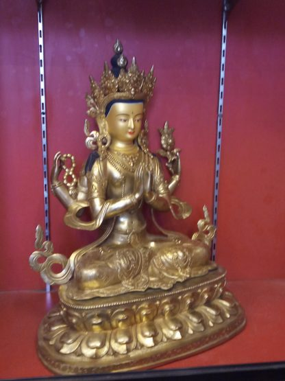 changresi buddha statue chenrezig full gold side view