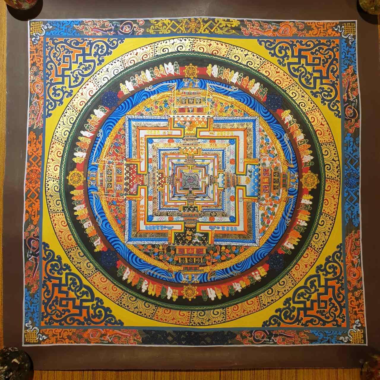 Kalachakra Mandala Thangka Tibetan Buddhist Wall Art Hand Painted