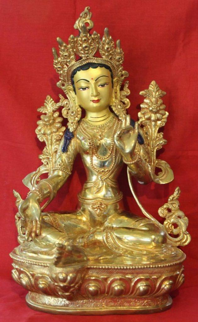 Green Tara Gold Buddha Statue - Meditational Deco Gifts For Friends