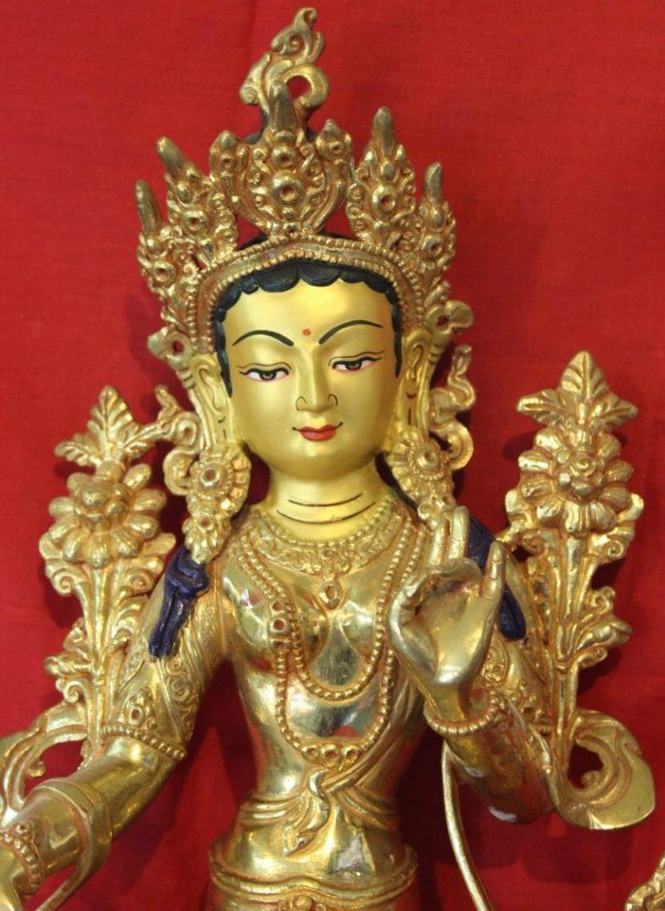 Green Tara Gold Buddha Statue - Meditational JPG