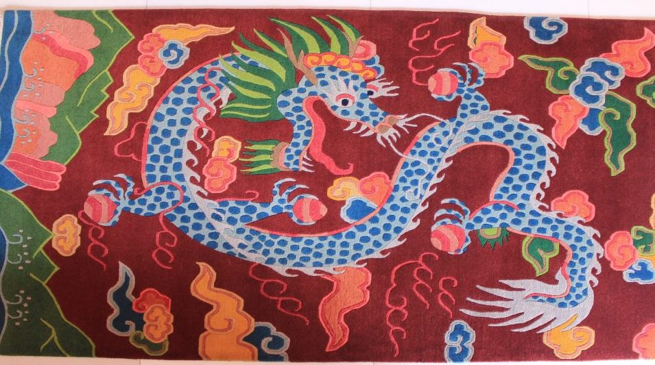 tibetan rug dragon carpet vertical